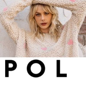 POL Pink and Creme Popcorn Knit Hooded Pullover